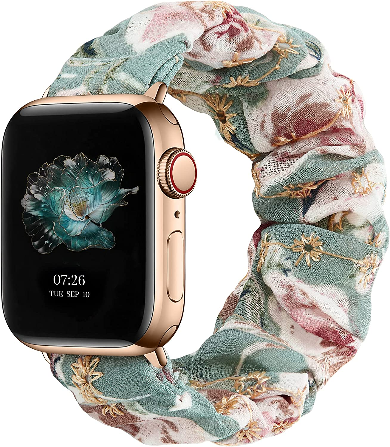 Adepoy Band Compatible for Scrunchies Apple Watch Band 38mm 42mm 40mm 44mm Lace Elastic Watch Bands Women Breathable Scrunchy Bands for iWatch Series 6 5 4 3 2 1 SE
