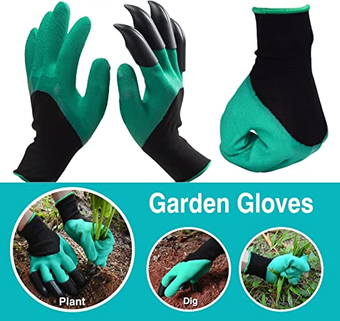 Garden Claw Gloves with Digging and Planting Claws Gardening Soil Seeding Plants