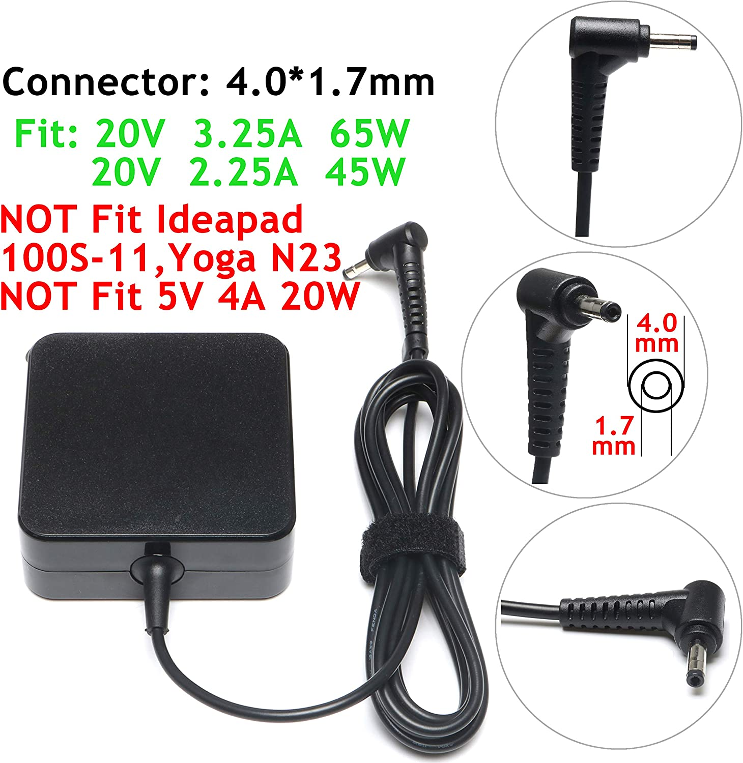 45W 65W AC Charger Adapter for Lenovo Ideapad 100S 100 110 110S 120 120S 310 320 320S 330 510 510S 710 710S 720S,Chromebook-N22 N23 N42 Yoga 710 510,Flex 4 1480 1580,Flex 5 Laptop Power Supply Cord