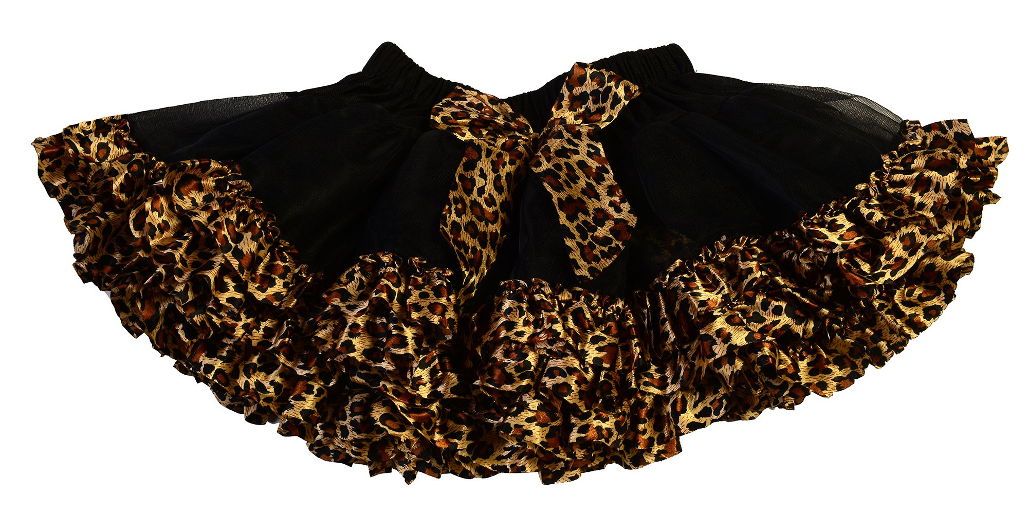 Max Daniel Designs Maxine Girls' Fluffy Tulle Tutu Skirt Tiered Animal Print Ballet Dance Pettiskirt Dress (Extra Large, Black/Leopard)