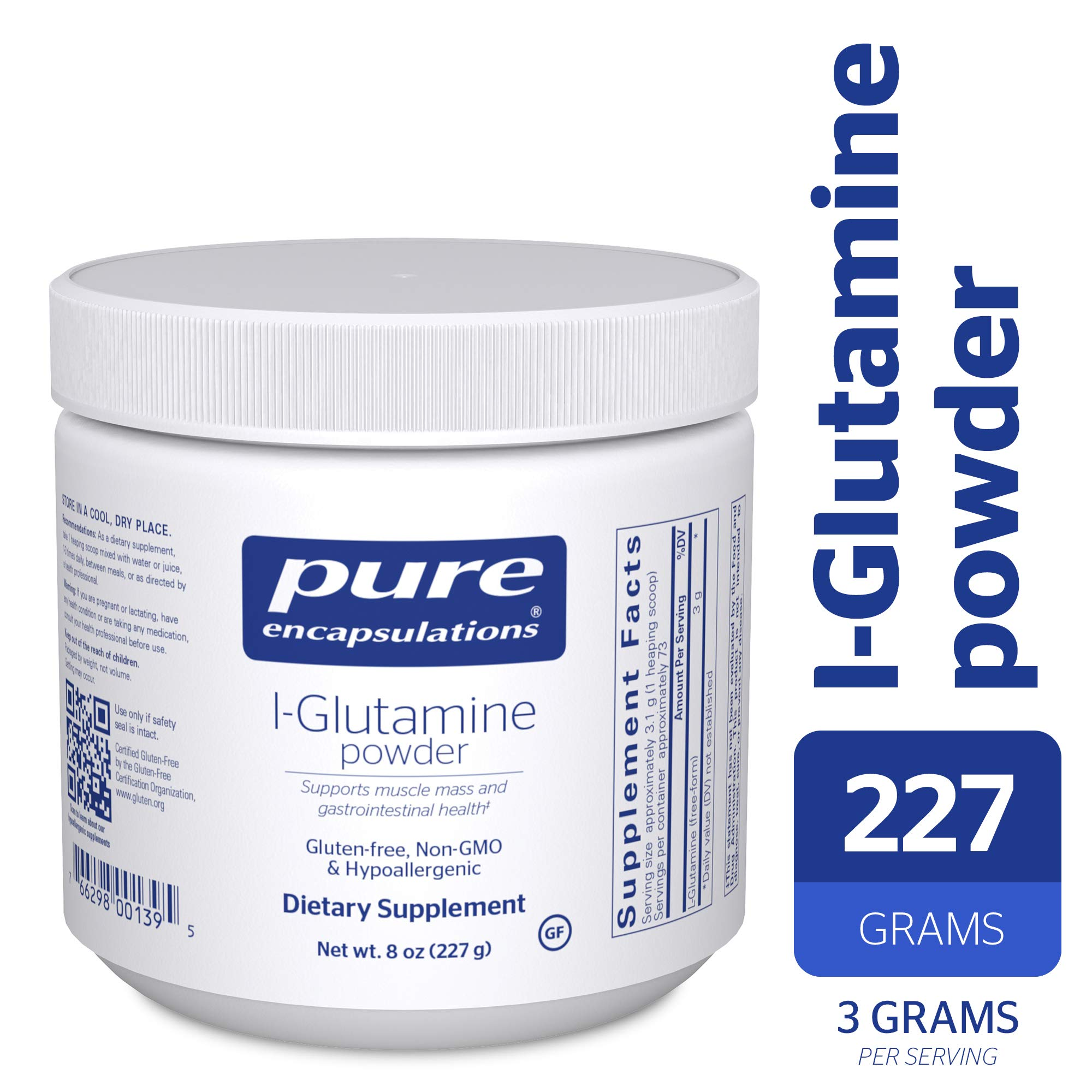 Pure Encapsulations - l-Glutamine Powder - Hypoallergenic Supplement Supports Muscle Mass and Gastrointestinal Tract* - 227 Grams by Pure Encapsulations