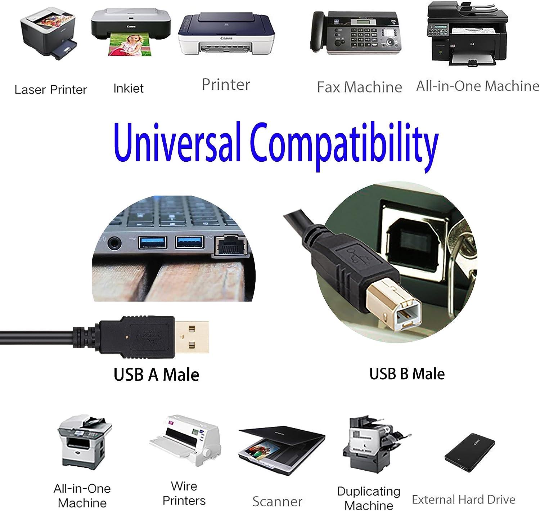 15ft USB 2.0 Extension /& 10ft A Male//B Male Cable for HP LaserJet Enterprise 500 color Printer M551dn CF082A#BGJ Printer