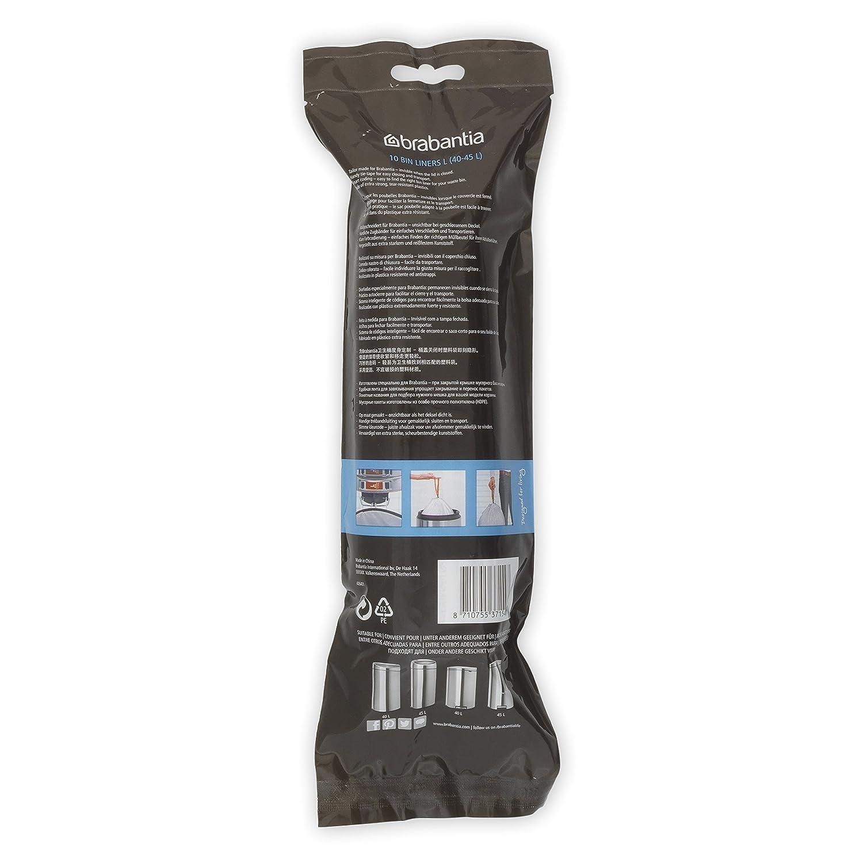 Brabantia 371547 Smartfix Bin Liners, Size L, 45 Litre, 10 Bag Roll, White