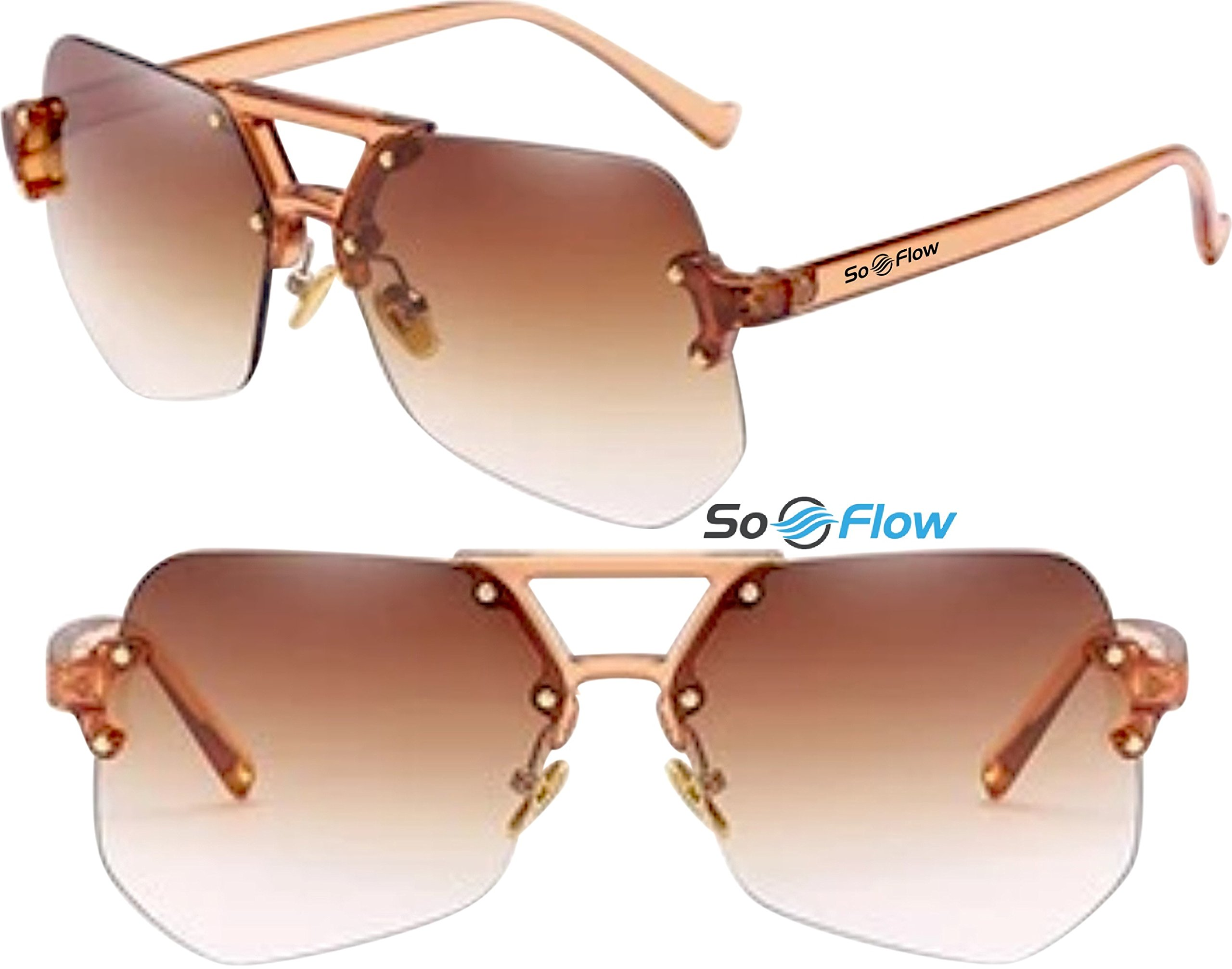 Brown Polarized Oversized Rimless Sunglasses For Women Men - Polygon - Prime UV400 Protection - Lightweight - Brown Lens Polarized Sunglasses - Large Rimless Oversized Sunglasses