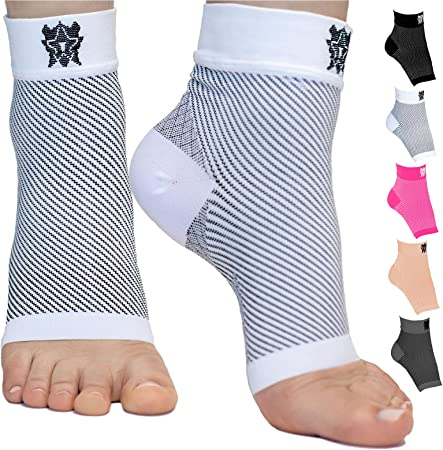 Bitly Plantar Fasciitis Socks (1 Pair) Premium Ankle Support foot Compression Sleeve,White, (X-Large)