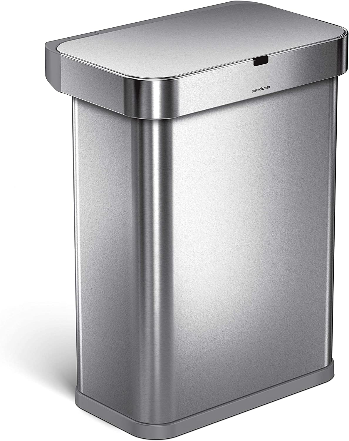 simplehuman 58 Liter / 15.3 Gallon Stainless Steel Touch-Free Rectangular  Kitchen Sensor Trash Can with Voice and Motion Sensor, Voice Activated, ...