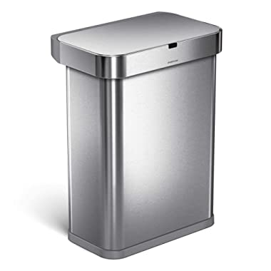 simplehuman 58 Liter / 15.3 Gallon Stainless Steel Touch-Free Rectangular Kitchen Sensor Trash Can with Voice and Motion Sensor, Voice Activated, Brushed Stainless Steel