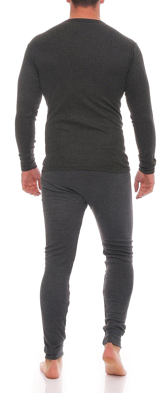 Good Deal Market Skiunterwäsche für Herren Thermo Unterwäsche Set Hemd/Hose,  2 Lange Unterhosen oder 2 lange Unterhemden, angeraut anthrazit, grau,  Grössen ...