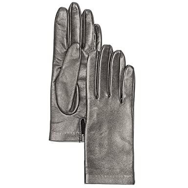 9b61d7916fc Bloomingdales Women's Metallic Leather Gloves, Silver-Tone (Size 7 ...