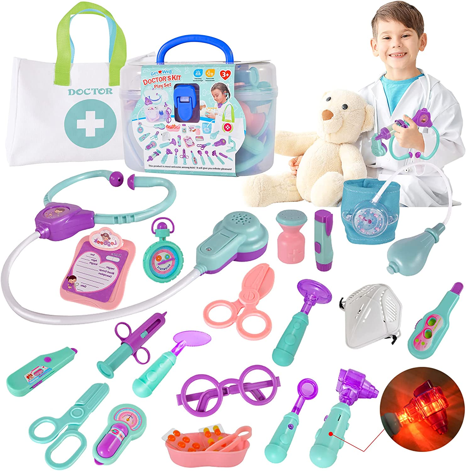 FLYINGSEEDS Doctor Kit for Kids, 24 Pcs Pretend Play Dotor Dentist Toys with Electronic Equipment, Packed in Medical Case Best Gifts for 3 4 5 6 7 Ages Boys Girls