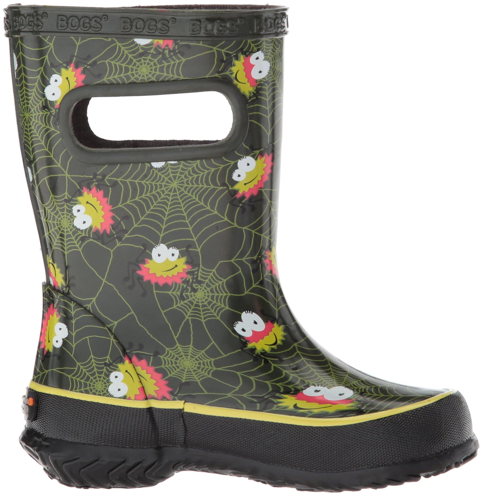 Bogs Kids' Skipper Waterproof Rubber Rain Boot for Boys and Girls,Smiley Spiders/Dark Green/Multi,11 M US Little Kid by Bogs (Image #7)