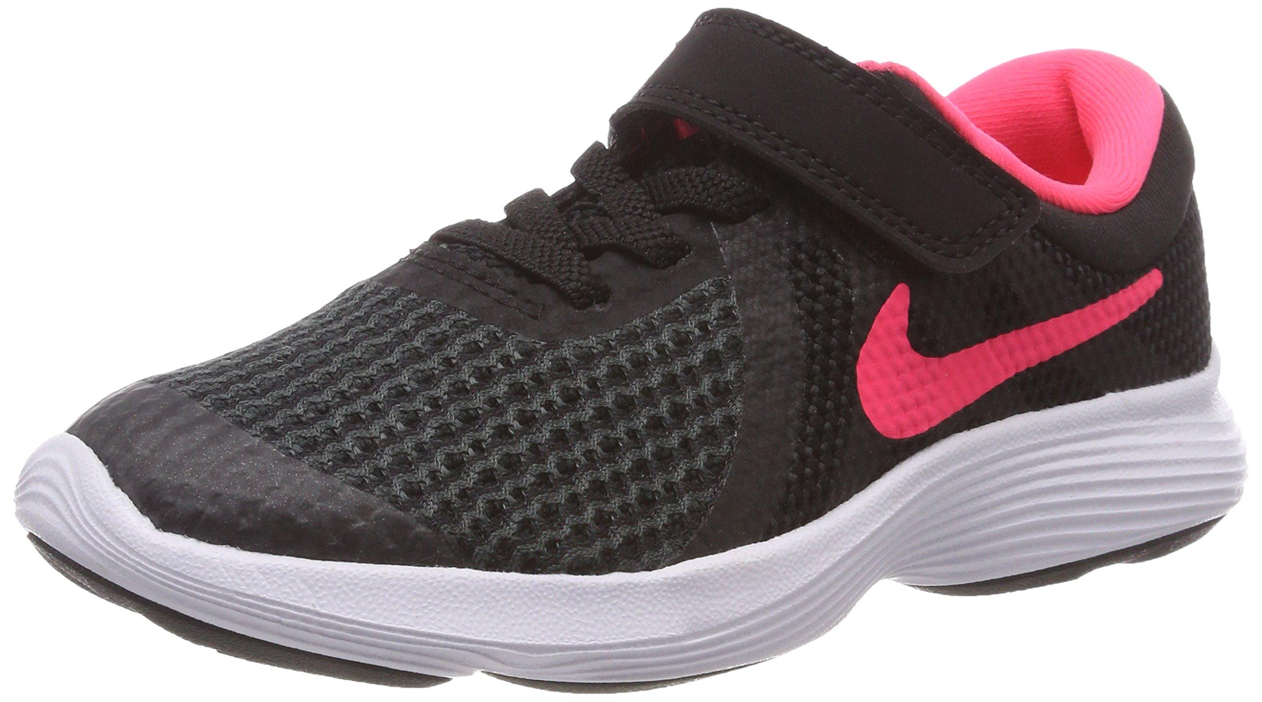 Nike Girls' Revolution 4 (PSV) Running Shoe, Black/Racer Pink-White, 11.5C Regular US Little Kid