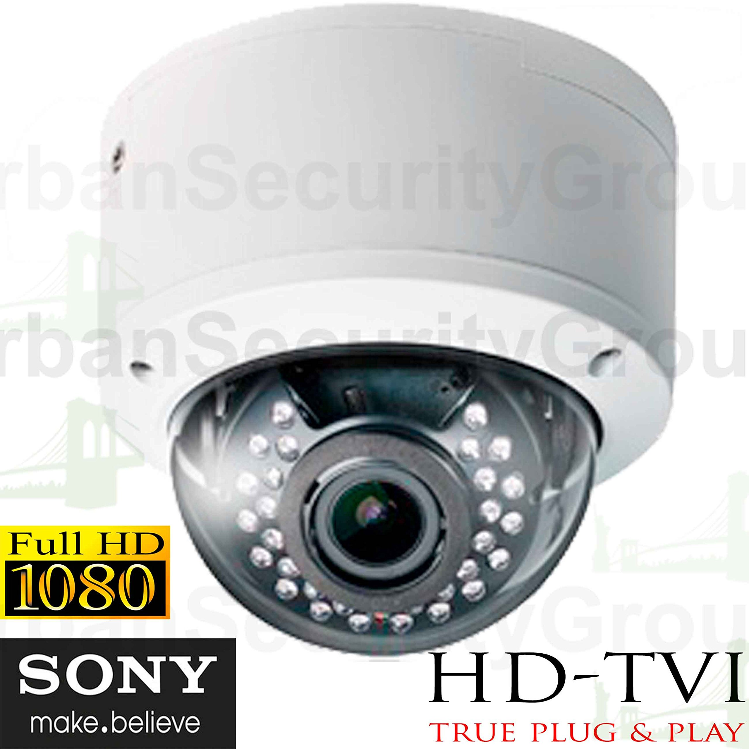 USG Business Grade Sony DSP 1080P 2MP High Definition CCTV Dome Security Camera With Deep Base: 1920x1080 HD Resolution, 2.8-12mm Vari-Focal Lens, 30x IR LEDs : TVI, CVI, AHD and Analog Format