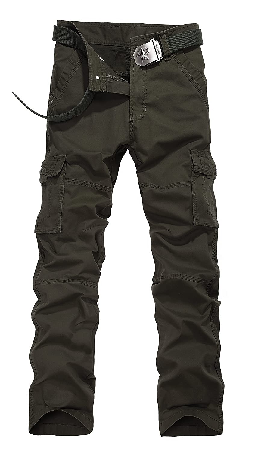 Colorfulworldstore Cotton Mens Combat Pocket Pants Cargo Casual Outdoor Trousers