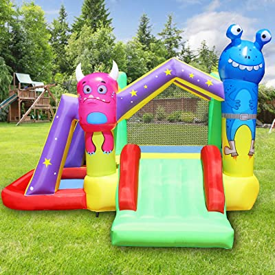 BESTPARTY Inflatable Alien Bounce House for Kids Play Jumping Slide with Blower: Toys & Games