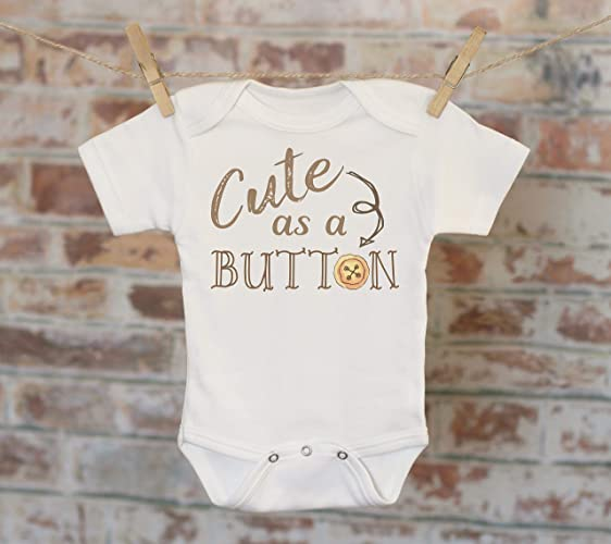 36d27a0e7 Amazon.com: Cute As A Button Onesie®, Funny Onesie, Joke Onesie, Silly  Onesie, Cute Baby Bodysuit, Cute Onesie, Boho Baby Onesie: Handmade