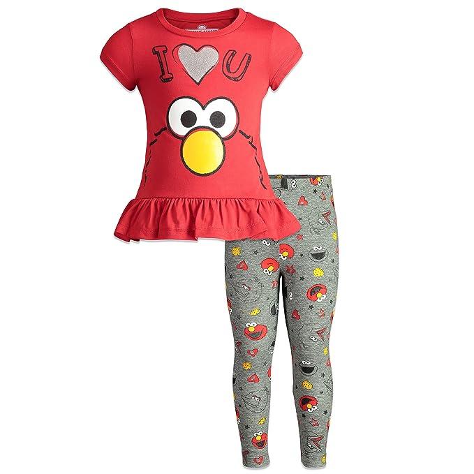 ddcc75da7be49 Sesame Street Elmo Toddler Girls Ruffle Tunic Shirt & Leggings Clothing Set  2T Red
