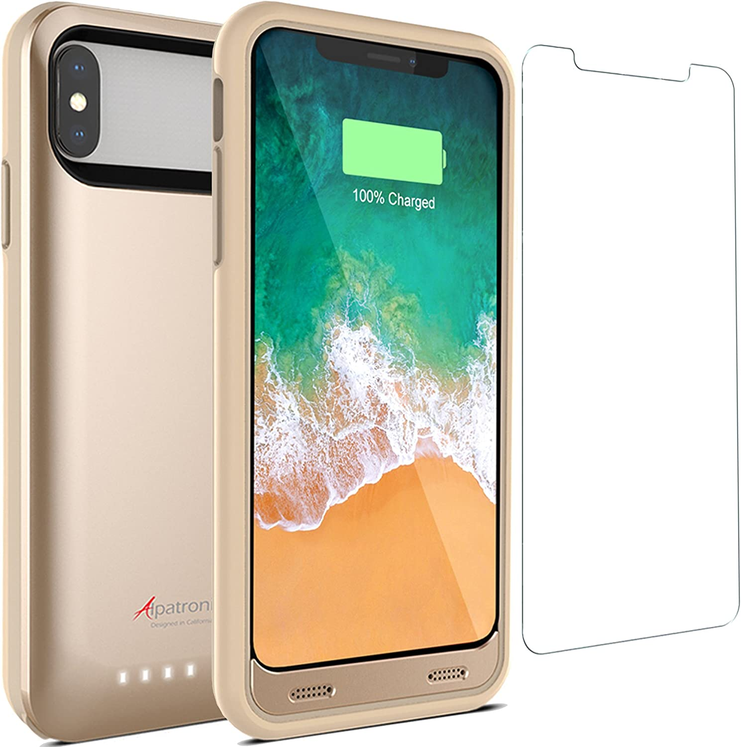 Alpatronix Battery Case for iPhone X/XS, BX10 4000mAh Slim Rechargeable Protective Portable Charger Case External Battery Pack Smart Cover Backup Power Bank Compatible w/iPhone X, iPhone Xs - Gold