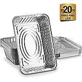 Bandejas recipientes de aluminio desechables con tapas de aluminio de 1000ml. Excelentes para hornear alimentos, para almacenamiento, para llevar en lata y más, paquete de 10/20. Pack de 20