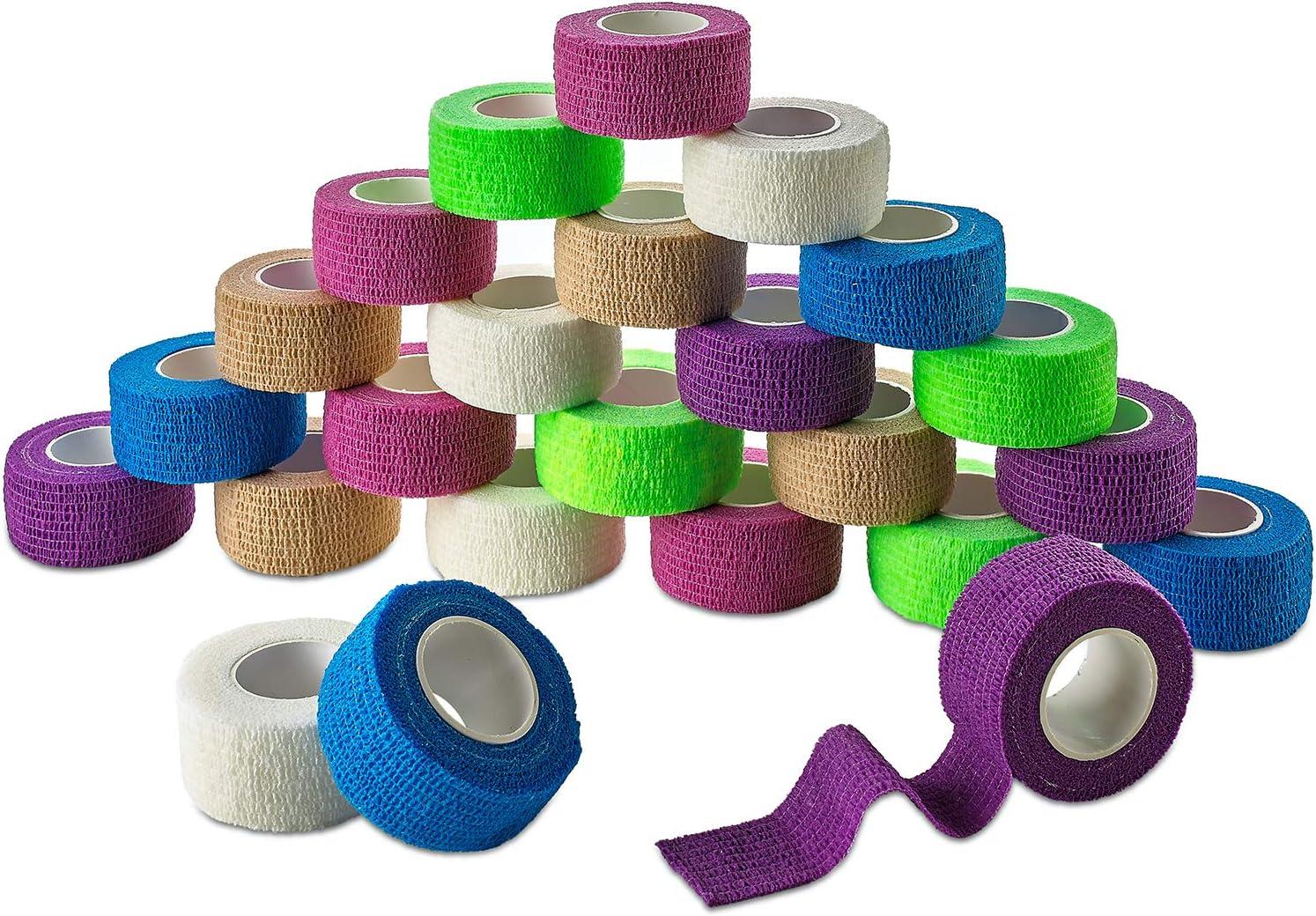 Vendajes adhesivos cohesivos MEDca de 1 pulgada X 5 Yardas (Colores del arcoiris) EMPAQUE DE 24. Cinta de primeros auxilios colorida para aliviar el dolor y la hinchazón en tobillo y muñeca.