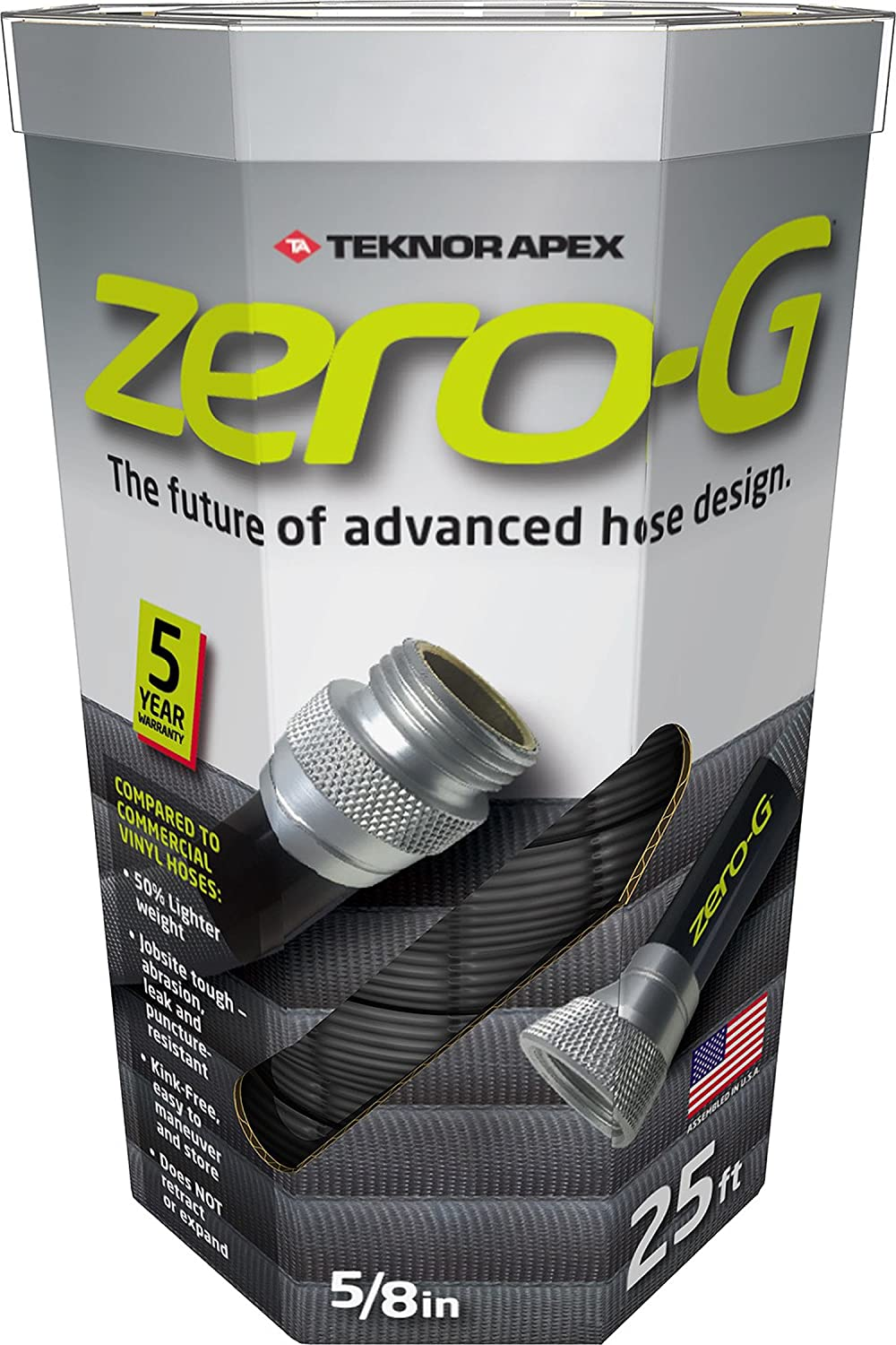 "zero-G 4001-25 8 Inch by 25 Feet Lightweight, Ultra Flexible, Durable, Kink-Free Garden Hose, 5, 5/8"" x, Gray"