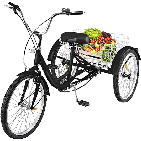 Happybuy 24 Inch Adult Tricycle Series 7 Speed 3 Wheel Bike Adult Tricycle Trike Cruise Bike Large Size Basket for Recreation, Shopping,Exercise Men s Women s Bike Black1 7-Speed
