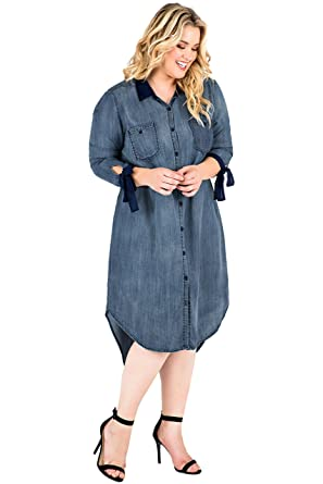 41326c1f513 Standards   Practices Plus Size Women s Button Down Tencel Tie Sleeve  Shirtdress Size ...