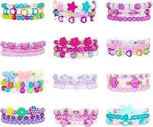 Elesa Miracle 36pc Little Girl Teens Kids Beaded Bracelet Value Set Kids Girl Party Favor Pretend Play Bracelet