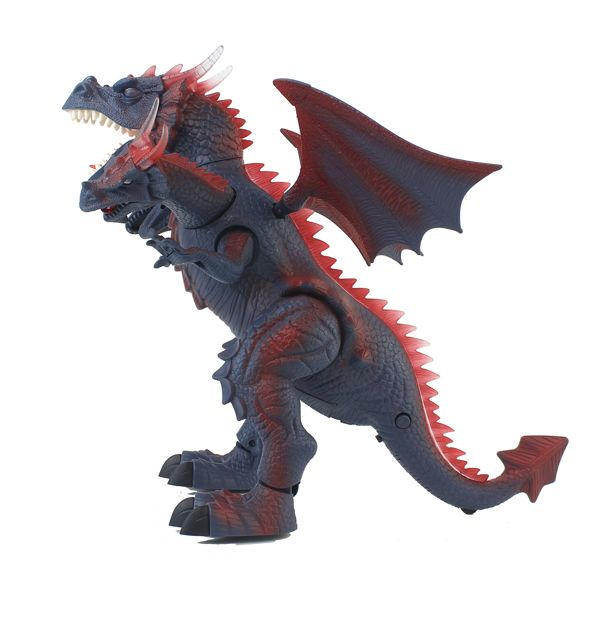 The New World of Dinosaurs Battery Operated Remote Control Toy RC Three Headed Dragon w/ Lights, Sounds, Walking/Wing/Mouth Action, & Flashlight Remote Contro by Velocity Toys (Image #3)