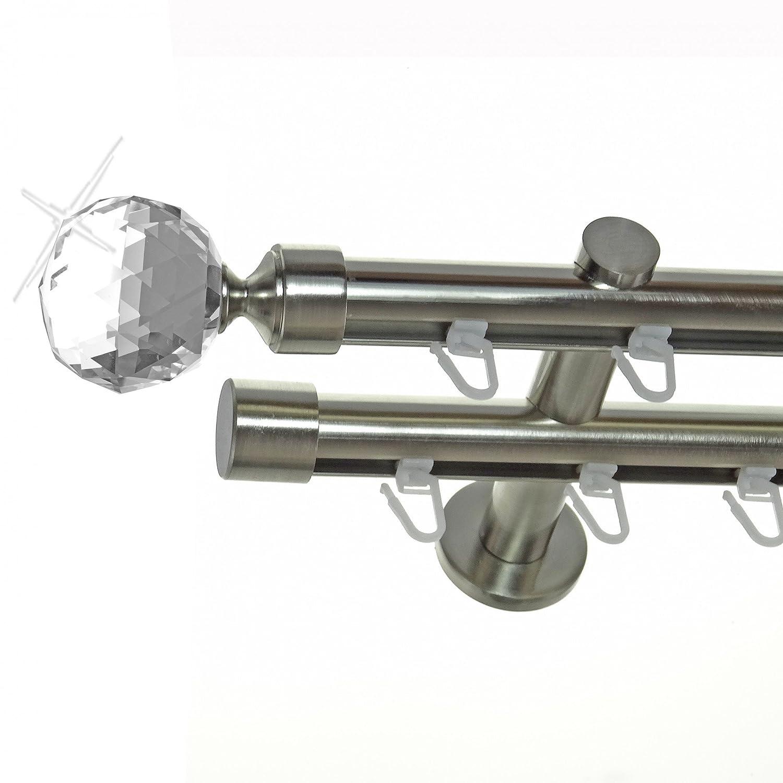 Innenlauf Gardinenstange Edelstahl Look 20mm Wandträger 2-läufig Zylinder Kristall Kugel, Länge wählbar H40 E87E30, Länge 320 cm