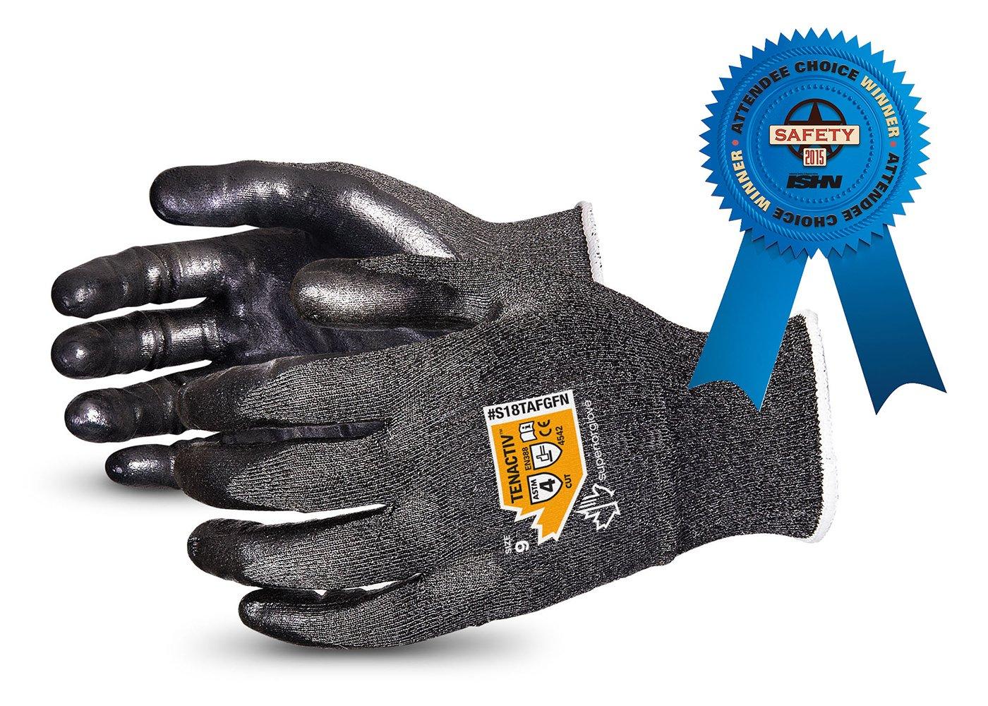 TenActiv Cut Resistant Gloves: 18-Gauge Composite Filament Fiber w/Level-4 Cut-Resistance & Foam Nitrile Palms (Touchscreen-Compatible) (Item S18TAFGFN - Size 5)
