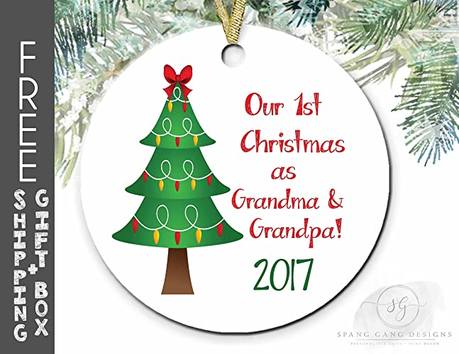 grandma grandpa first christmas ornament grandparents christmas gift pregnancy announcement