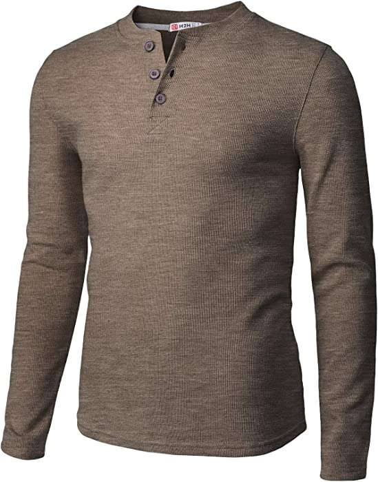 74b89fc7b1fca3 H2H Mens Casual Henley Long Sleeve Waffle Cotton T-Shirts HEATHERBROWN US  S Asia