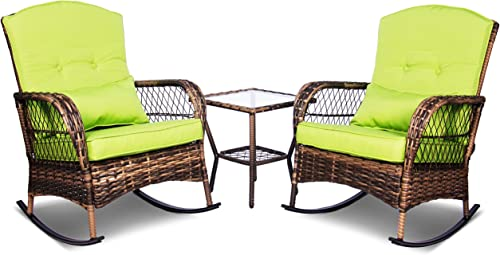 ENSTVER 3 Pieces Patio Conversation Set w/ 2 Rattan Wicker Rocking Chairs and Glass Table,for Garden Backyard Lown Porch Green