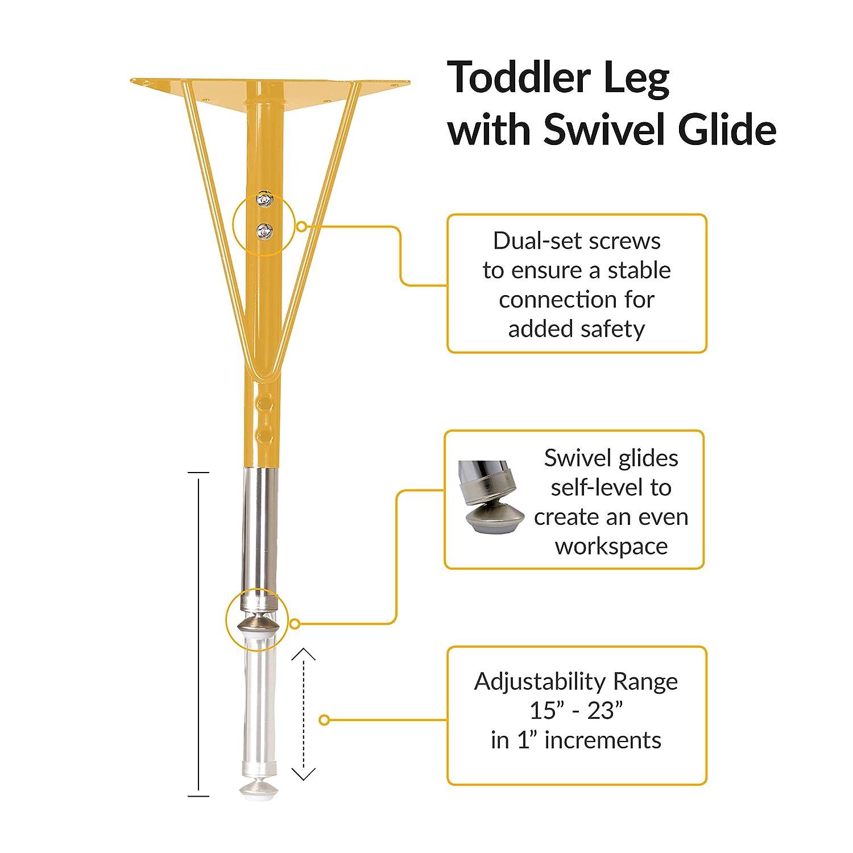ECR4Kids Mesa Premium 24 x 48 Half Round School Activity Table Adjustable Height 19-30 inch Standard Legs w// Swivel Glides Maple//Yellow