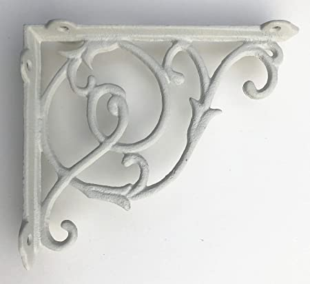 """6/"""" PAIR OF ANTIQUE IRON cast Victorian scroll ornate shelf support wall brackets"""