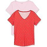 Amazon Essentials Paquete de 2 Camisetas de Manga Corta 100% algodón con Cuello en V Camiseta para Mujer