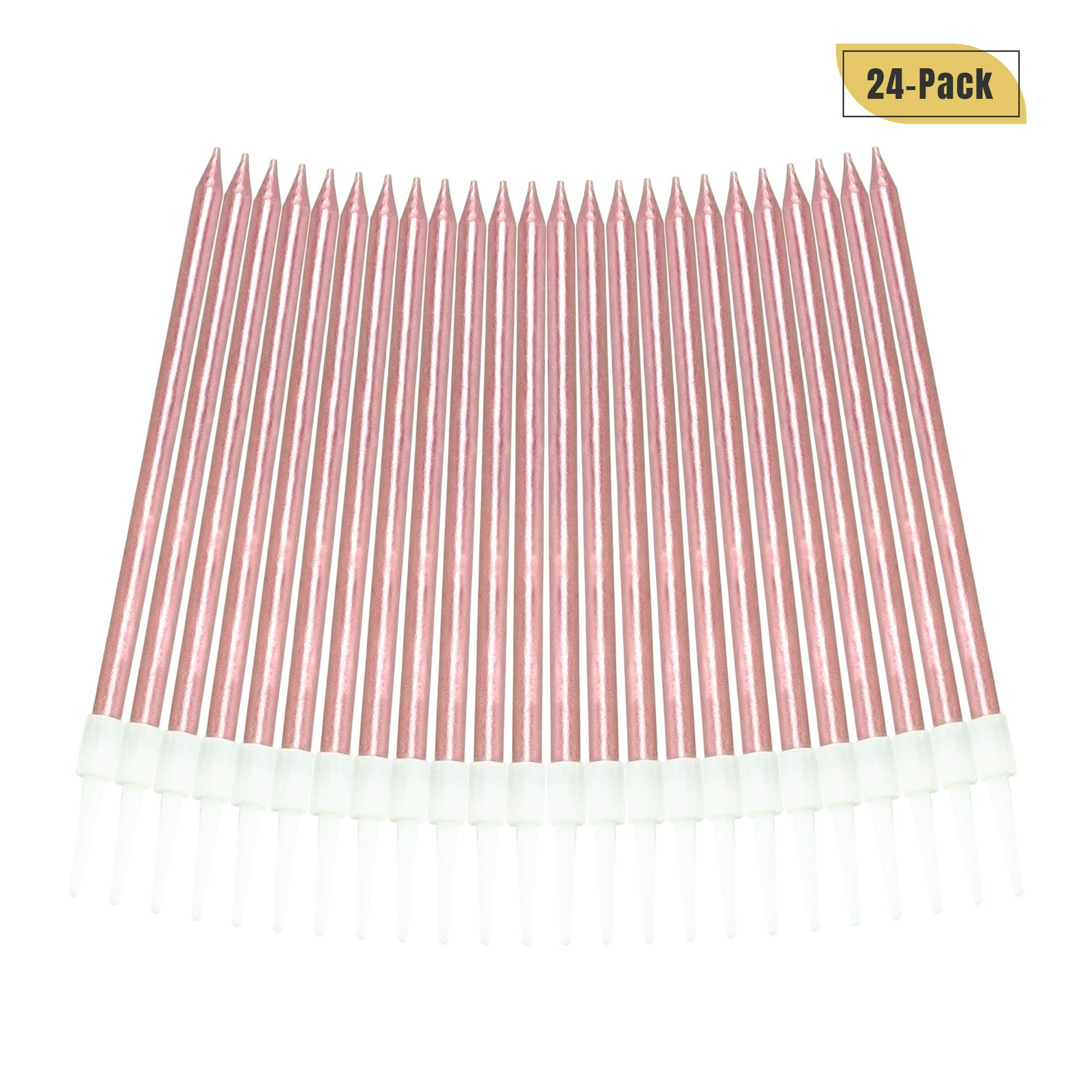 Aplusplanet 24 Count Pink Birthday Candles, Metallic Long Thin Pink Cake Candles in Holders for Cupcake Wedding Cake Birthday Cake Party Cake Decorations