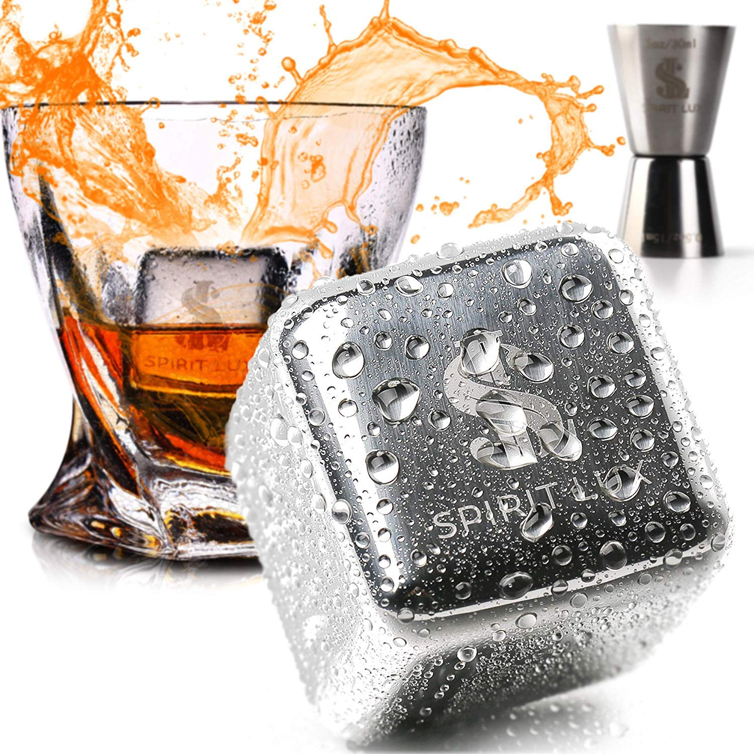 "King-Sized Stainless Steel Ice Cubes Whiskey Stones Gift Set of 2, Reusable Metal Ice Cubes for Whiskey, Bourbon,Scotch, Whiskey Rocks Chilling Stones 1.5""+ Cork Coasters absorbent by Spirit Lux"