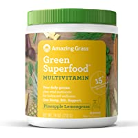 Amazing Grass Green Superfood Multi-Vitamin: Organic Plant Based Multi-Vitamin Powder packed with 15+ Vitamins & Minerals, Pineapple Lemongrass Flavor, 30 Servings,7.4 Ounce (1 Count)
