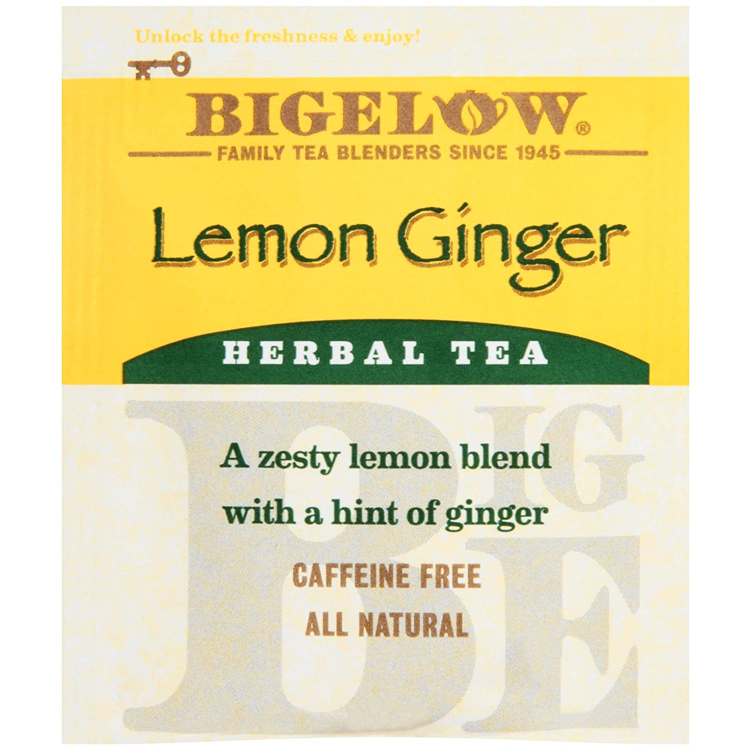 Bigelow Lemon Ginger Herbal Tea Bags 28-Count Box