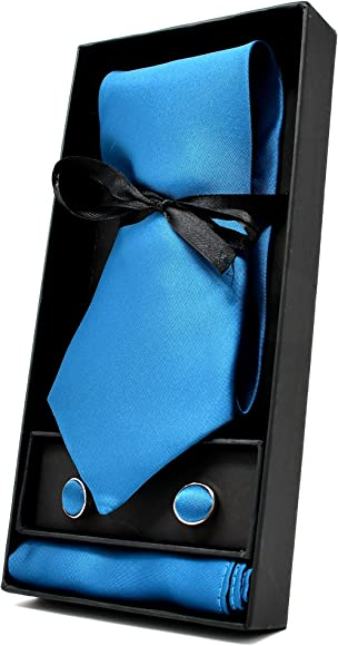 Corbata de hombre, Pañuelo de Bolsillo y Gemelos Azul Turquesa ...