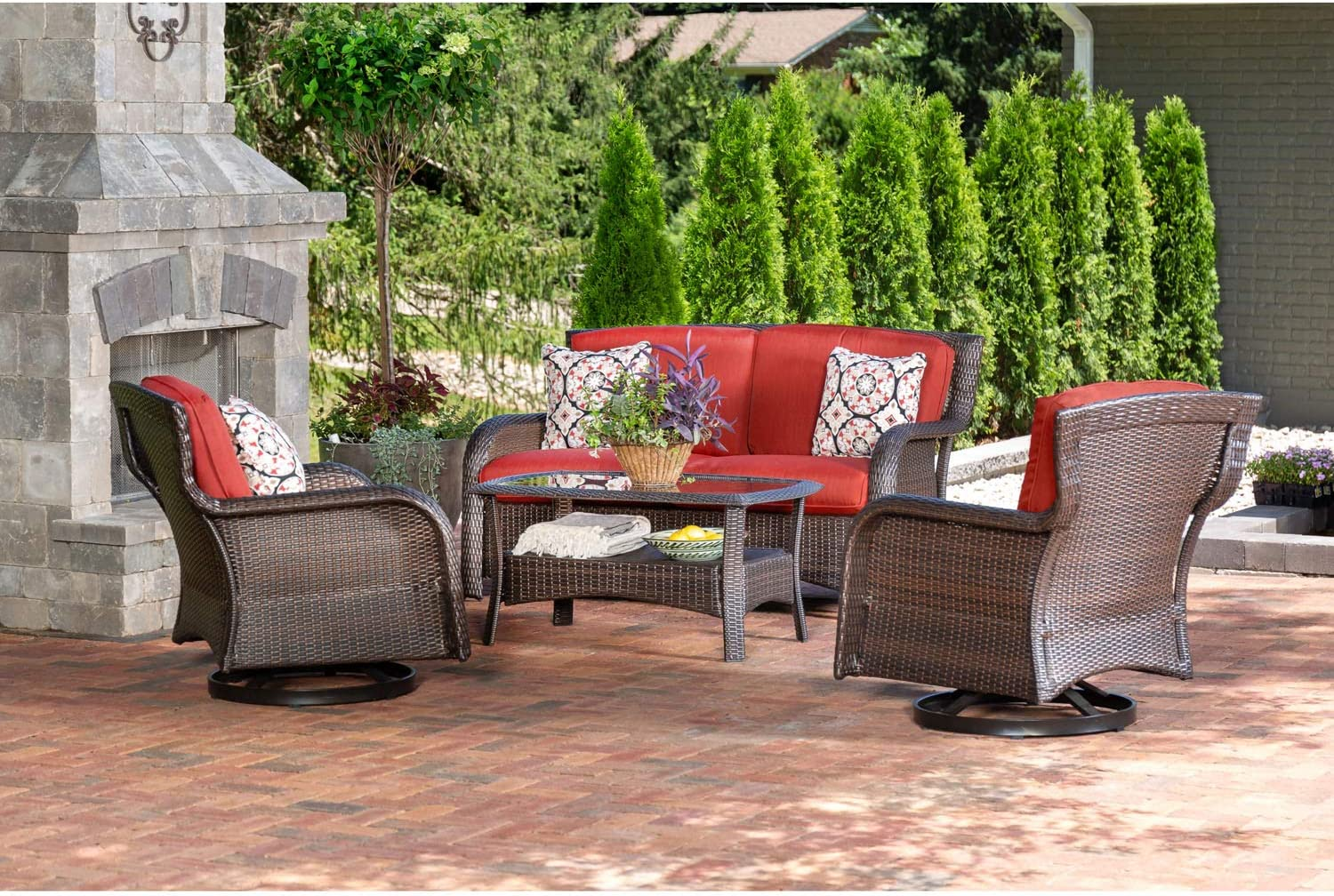 Hanover STRATH4PCSW-LS-RED Strathmere (4 Piece) Lounge Set, Outdoor Furniture, Crimson Red