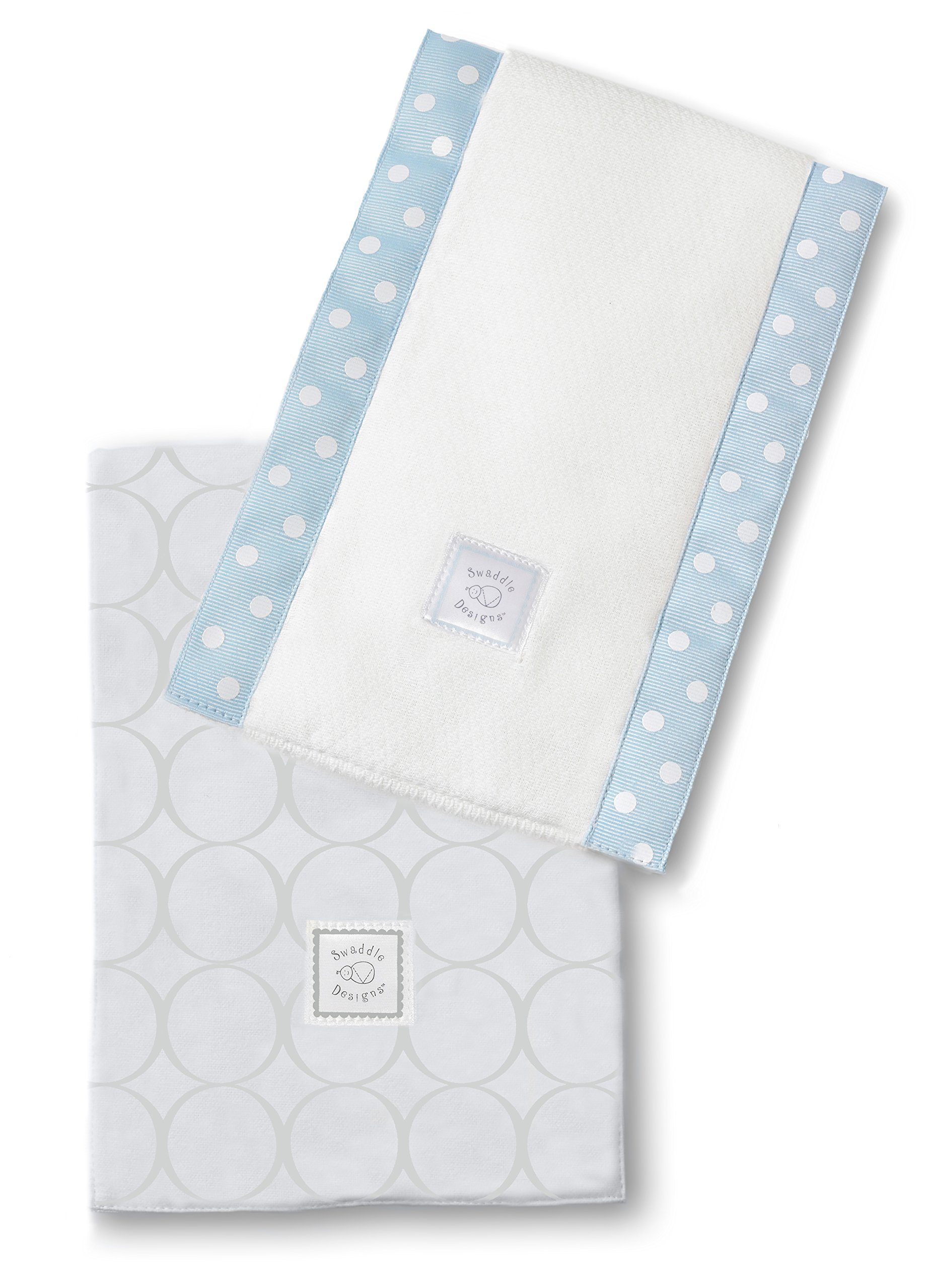 SwaddleDesigns Baby Burpies, Set of 2 Cotton Burp Cloths, Sterling Mod Circles on Sunwashed Blue