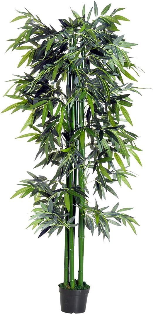 Outsunny Bambú Artificial 180cm con Cañas Naturales Árbol Planta Sintética Decorativa con Maceta Casa Jardín Decoración PE: Amazon.es: Jardín