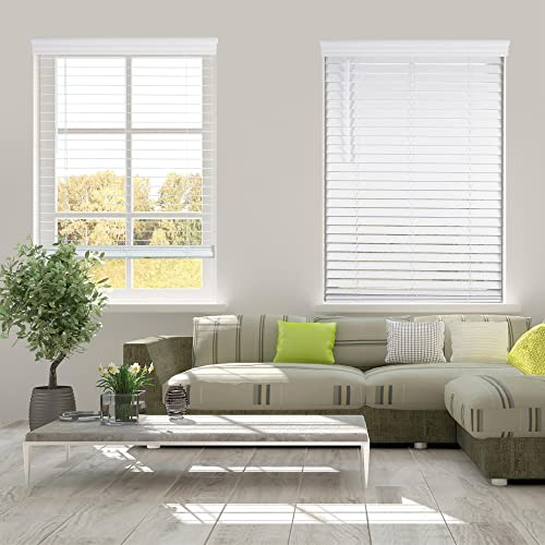 Arlo Blinds Cordless 2 Inch Faux Wood Horizontal Blinds – Size 30.625 W x 60 H, White, Cordless Lift and Wand Tilt