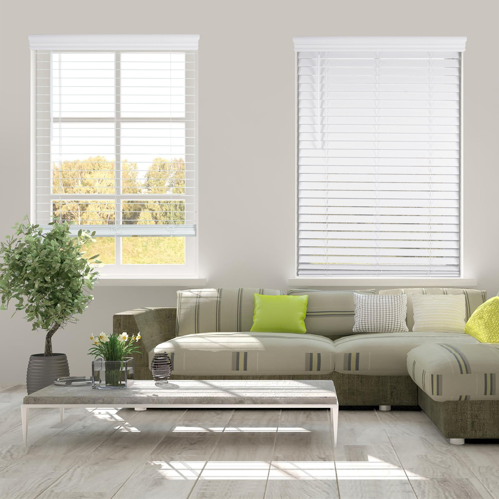 Arlo Blinds White Cordless 2 Inch Faux Wood Horizontal Blinds - Size: 34'' W x 60'' H, Cordless Lift and Wand Tilt
