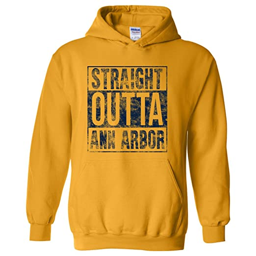623b18339c64 Straight Outta Ann Arbor - Michigan Football Basketball Hometown Pride  Hoodie - Small - Gold