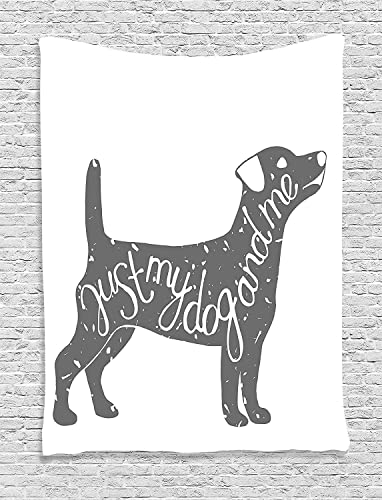 Ambesonne Dog Lover Tapestry, Just Me and My Dog Message Words Vintage Typographic Dog Pet Illustration, Wall Hanging for Bedroom Living Room Dorm, 60 X 80 , Grey