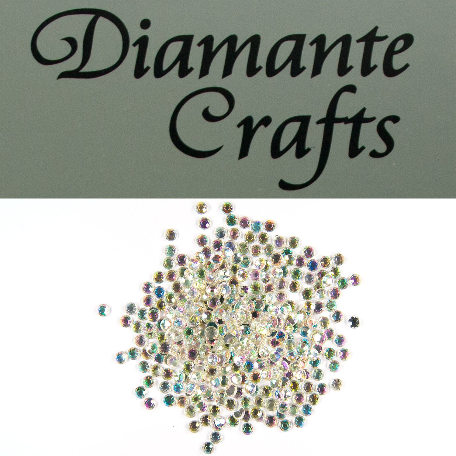 300 x 4mm Clear iridescent AB Round Diamante Loose Flat Back Rhinestone Gems created exclusively for Diamante Crafts